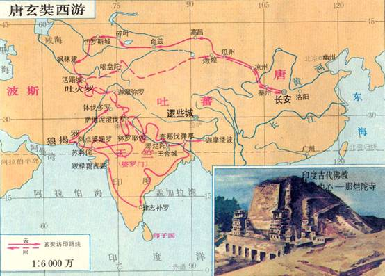 图注:玄奘西游线路图,图中的吐蕃即今西藏一带,逻些城就是拉萨的古称.